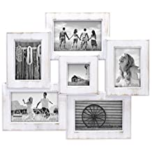 Malden Berkshire Beveled 6 Opening Wall Collage Picture Frame, Holds 3-4-Inch X 6-Inch/2-3-Inch X 5-Inch/1-3-Inch X 3-Inch Photos, Whitewash