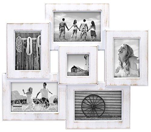 Malden International Designs Berkshire Beveled Wall Collage Picture Frame, 6 Option, 3-4x6 & 2-3x5 & 1-3x3, White by Malden International Designs