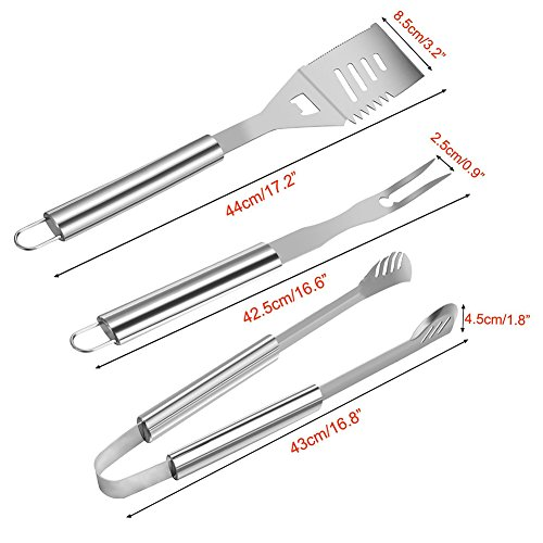 Bbq grill tools set heavy duty stainless steel for Pretty garden tools set