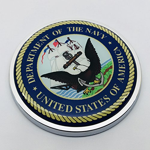 US DEPARTMENT of the NAVY 3D Domed Emblem Car Sticker Chrome ROUND Bezel
