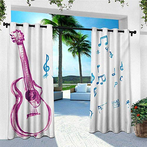 leinuoyi Guitar, Outdoor Curtain Extra Long, Watercolor Musical Instrument with Notes Sheet Elements Brush Stroke Effect, Set for Patio Waterproof W120 x L108 Inch Magenta Blue White ()