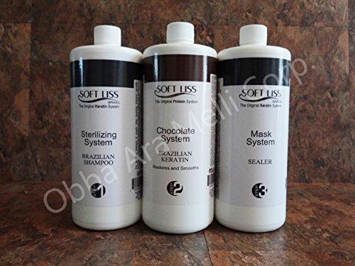 Keratin Brazilian Treatment kit 32oz Soft Liss Chocolate (Keratina de Chocolate) Hair Treatment Formaldehyde Free by Soft Liss
