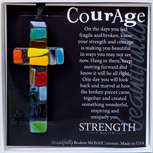Handmade Glass Mosaic with Courage Poem - Inspirational Get Well Soon Gift for Cancer Patients/Encouragement Gift for Hard Times (Best Gifts For Someone Going Through Chemo)