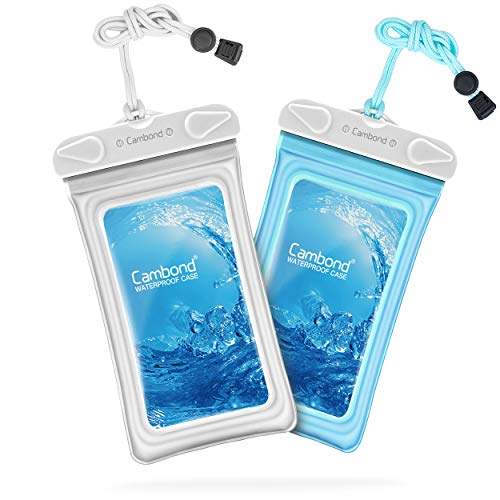 Water Proof Cell Phone Pouch, Universal Waterproof Phone Case, 100ft IPX8 Waterproof Bag, Anti-Break Lanyard, Floating Waterproof Pouch for iPhone X, 8, 8P, 7, 7P, Device up to 6.5 inches (2 Pack) ()
