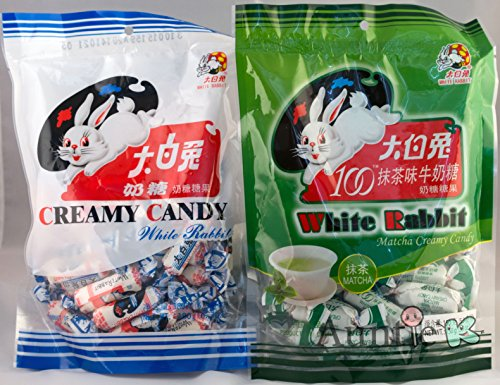 White Rabbit Milk and Green Tea Matcha Chewy Candy Bundle, 2 pack ()