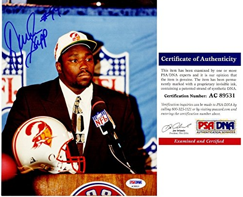 (Warren Sapp Signed - Autographed Tampa Bay Buccaneers DRAFT 8x10 inch Photo - Tampa Bay Bucs - PSA/DNA Certificate of Authenticity (COA))
