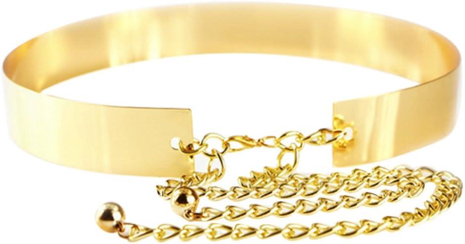 Cinturones Mujer Fiesta, Cinturon Dorado Mujer, 3.5cm de Ancho Mujeres de La Moda Lady Full Metal Plate Chains Mirror Waist Belt Dress Cintura CinturóN MetáLico (Estilo sólido)