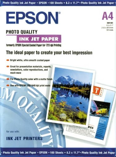 Epson S041061 Photo Quality INK JET Paper 100 A4 21 x 29, 7 cm (A4) Carta fotografica