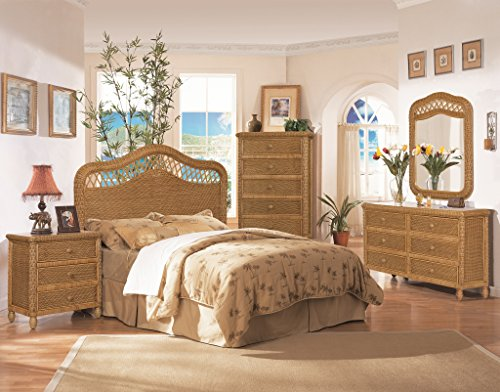 (Santa Cruz 4 Piece Wicker Bedroom Group Antique Honey)