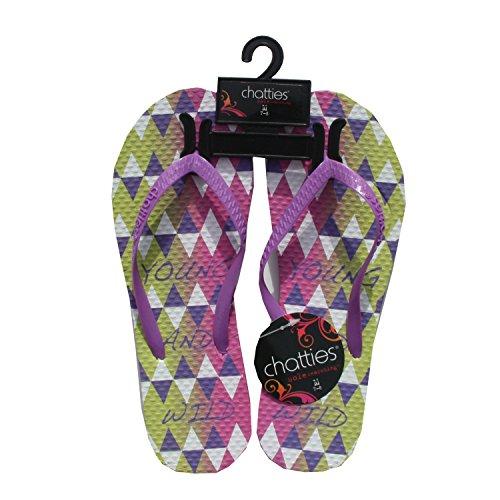 Purple Women's Verbiage Sandals Flops 5 11 6 Flip Printed Beach zzxqAvrR