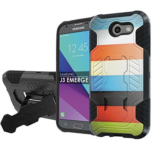 Samsung Galaxy J3 Emerge  2017   Nakedshield   Black Black  Total Defense Armor Case  Kickstand   Holster     Color Bars  For Galaxy  2017   J3 Emerge