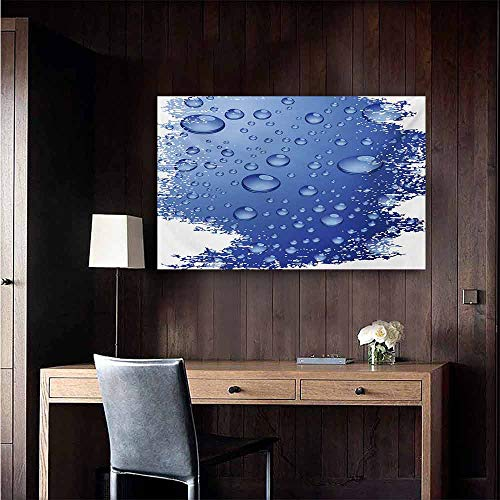 """duommhome Grunge Simulation Oil Painting Wet Surface Inspired Bubble Water Rain Drop Crystals Freshness Symbol Artsy Design Decorative Painted Sofa Background Wall 47"""" Wx32 L Violet Blue"""