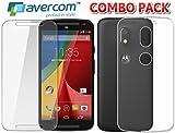 AVERCOM™ COMBO OFFER Premium 2.5D HD Premium Flexible Tempered Glass And Soft Transparent Back Cover For Motorola Moto E3 Power