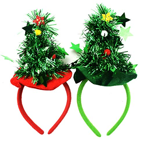 Novelty Christmas Headwear - 2-Pack Christmas Tree Headbands Christmas Headwear