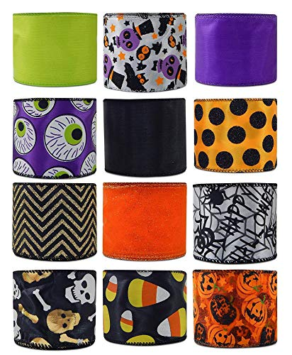 Lots Of Halloween Candy (Economy Halloween Wired Fabric Ribbon Variety Pack Bundle 12-Roll Set 2.5 Inches by 3 Yards Orange Black Purple Orange Pumpkin Candy Corn Spiders Skeleton Jack-o'-Lantern (Set F)