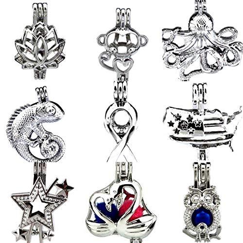 - 9X/lot Swan Octopus Monkey Lotus Lizard Owl Star Flag Day Stones Beads Pearl Cage Pendant Locket Mix DIY