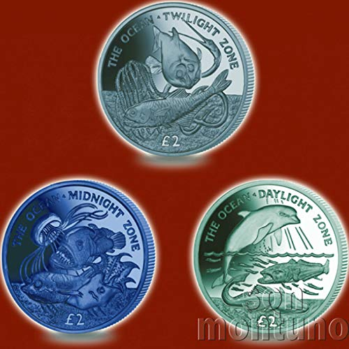 The Ocean : 3 COIN TITANIUM SET with Daylight, Twilight & Midnight Coins in Box with Certificate of Authenticity - 2016 South Georgia & Sandwich Islands - OCEAN ()