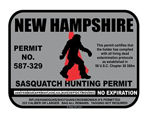 New Hampshire Sasquatch Hunting Permit License Bigfoot Vinyl Sticker Decal