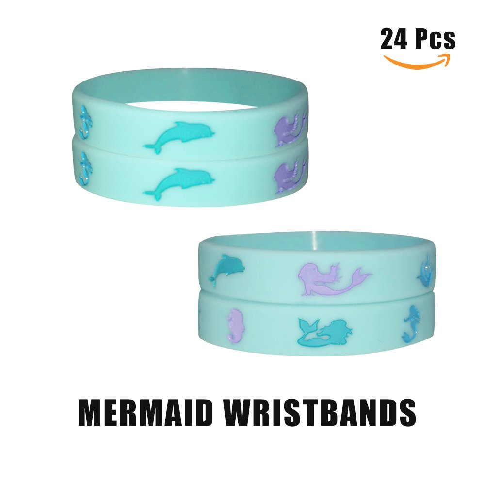 24 Pack Mermaid Silicone Wristbands Bracelets,Birthday Party Favors for Kids,Goody Bag Supplies Gifts for Boys and Girls, Mermaid Under The Sea Party Supplies
