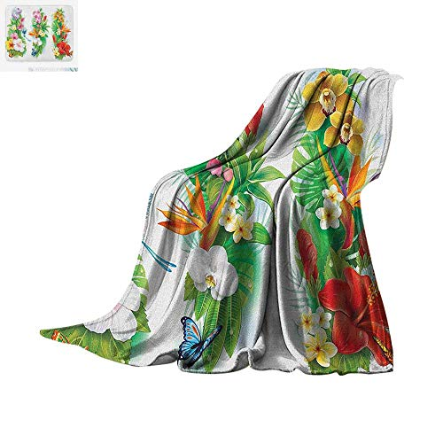 Luoiaax Watercolor Flower Throw Blanket Tropical Christmas Bouquet Tropical Hibiscus Blossoms Leaf Butterfly Warm Microfiber All Season Blanket for Bed or Couch 50