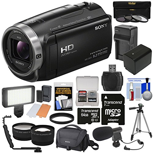Sony Handycam HDR-CX675 32GB Wi-Fi HD Video Camera Camcorder with 64GB Card + Battery & Charger + Case + Tripod + LED Light + Mic + Tele/Wide Lens Kit (Sony Hdr Cx900)
