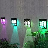 Solar Lamp, Wanshop Color Change Solar Lights Weatherproof Outdoor Fence Lights Garden Waterproof Home Landscape Lights for Patio, Deck, Yard, Garden, Home, Driveway, Stairs, Fence, Wall,Step