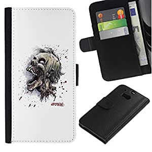 All Phone Most Case / Oferta Especial Cáscara Funda de cuero Monedero Cubierta de proteccion Caso / Wallet Case for HTC One M8 // Evil Zombie Skull