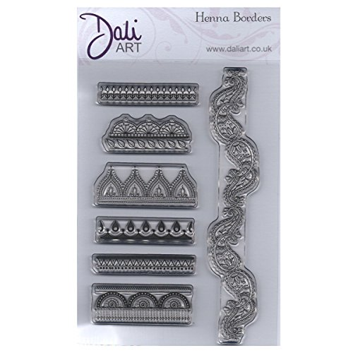 Dali Art A6 Clear Rubber Stamp - Henna Borders (Flower Border Rubber Stamp)