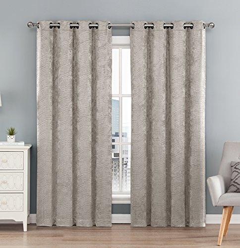 HLC.ME Chevron Thermal Blackout Room Darkening Energy Efficient Extra Wide Window Grommet Curtain 84' inch - Beige - 1 Panel