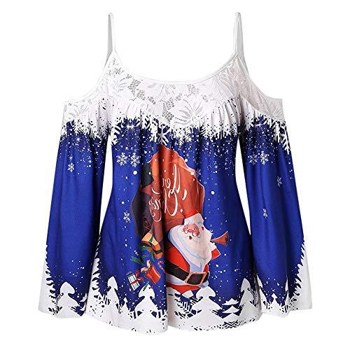 iYBUIA Christmas Women Snowman Print T-Shirt Casual Blouse Tops Fashion Lace Patchwork Spaghetti Strap Sling Blouse(Blue,CN:M/US:6)