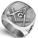 Stainless Steel Vintage Signet Masonic Ring