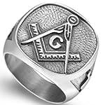 Stainless Steel Vintage Signet Masonic Ring 12