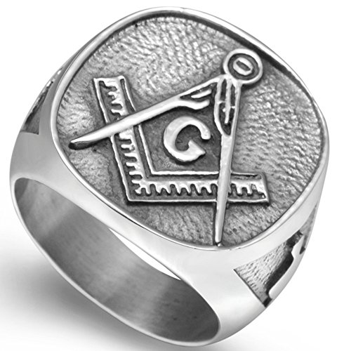 Stainless Steel Vintage Signet Masonic Ring (Mens Masonic Ring)