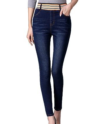 079690b054fdb0 YuanDian Damen Herbst Und Winter Lässige Große Größen Elastische Taille Skinny  Slim Fit Jeans Hohe Taille