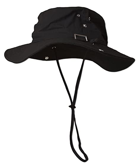Fishing Draw String Boonie Hat With Top Side Buckle For Id Black