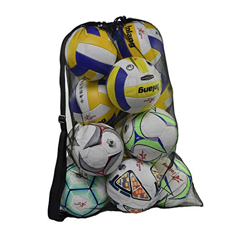 Pro-traveller Heavy Duty Mesh Ball Bag,Drawstring Sport Equipment Storage Bag for Basketball, Soccer, Sports Beach and Swimming Gears with Adjustable Shoulder Strap for Adults and Kids (Black-XL)