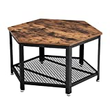 VASAGLE Vintage Coffee Table, Tea Table with Storage Rack, Hexagonal Wooden Table, Stable Metal Frame and Mesh Shelf ULCT16X Review