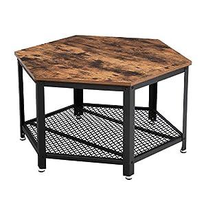 VASAGLE Table Basse Vintage, Table d'appoint, Table de Salon, Armature métallique Stable, Étagère de Rangement en…