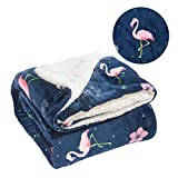 Rose Home Fashion RHF Throw Blanket, Super Soft & Super Warm Fleece Blanket, Fuzzy Blanket, Plush Blanket Queen Size, Throw Blanket for Couch, Extra Thick, Extra Warmth(Flamingo-59 by 79 inches)