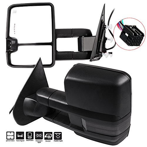 Best Prices! SCITOO fit Chevy GMC Towing Mirrors Puddle Lights Black Rear View Mirrors fit 2014-2018...