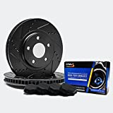 Front [ELITE SERIES] Black Anti-Rust Slotted & Drilled Rotors and Carbon Pads Brake Kit TA059281 | Fits: 2002 02 Ford Explorer 4WD Sport Trac Models w/2.6 Overall Height