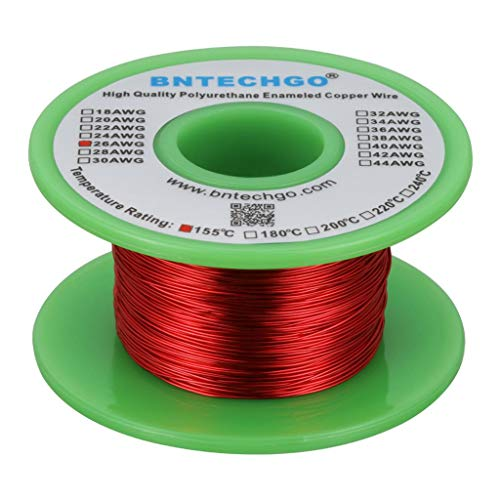 BNTECHGO 26 AWG Magnet Wire - Enameled Copper Wire - Enameled Magnet Winding Wire - 4 oz - 0.0157