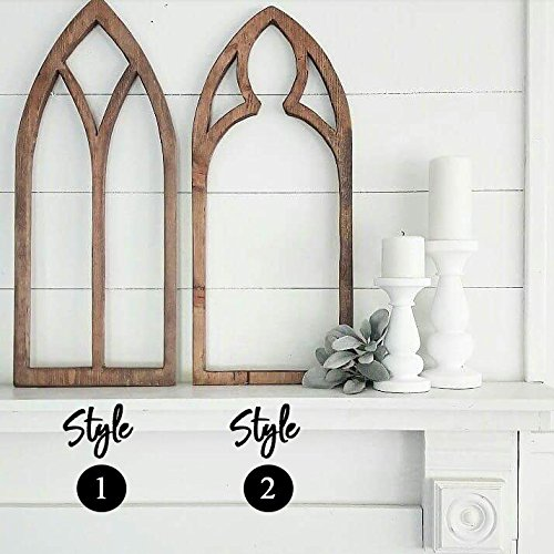 Window Frame Antique Church Window Frame Cut Out Rustic Farmhouse Home Decor Cathedral Window Frame Faux Frame Gothic Tear Drop Hand-Cut by Three Arrows Collective (Image #1)