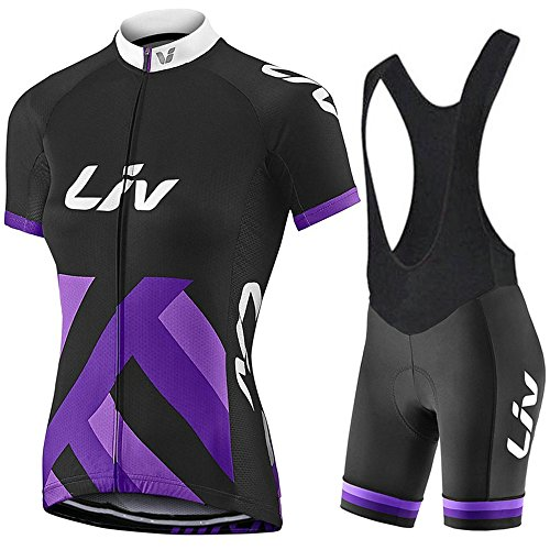 Bicycle Jersey Summer Women's Short Sleeve Cycling Jersey Bib Shorts Set Quick Drying Breathable Jersey Purple V4 (Purple a, -