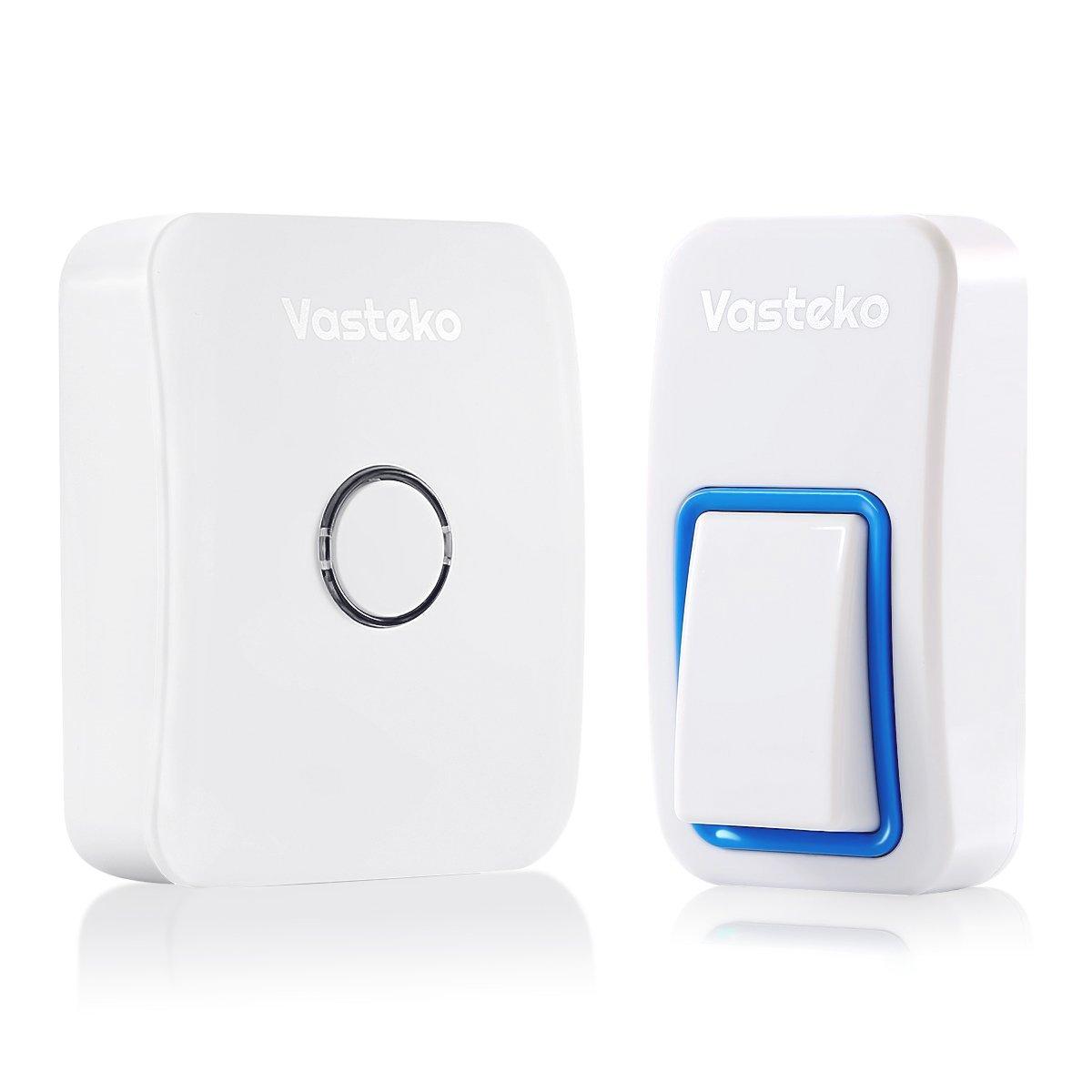Vasteko Wireless Doorbell Kits No Battery Required Both Transmitter Receiver, IPX7 Waterproof Push Button, 3-Level Volume, 25 Ring Tunes (White)