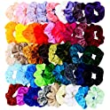 Chloven 45-Piece Scrunchies Velvet Elastics Hair Bands