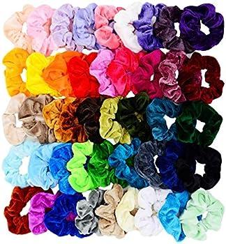 Chloven 45-Piece Scrunchies Velvet Elastics Hair Bands