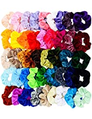 Chloven 45 Pcs Hair Scrunchies Velvet Elastics Hair Bands Scrunchy Hair Tie Ropes Scrunchie for Women Girls Hair Accessories- Gift for Holiday Seasons and Christmas