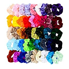 Color:45        Features & Benefits:        Colorful hair scrunchies: These hair scrunchies are in 45 different colors, each color for 1 piece. These hair bands are made of velvet with a rubber in it, stretchable and elastic, can f...