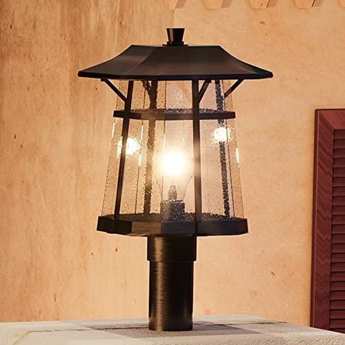 Luxury Rustic Outdoor Post Pier Light, Medium Size 13.375 H x 8.5 W, with Craftsman Style Elements, Coffee Bronze Finish, UHP1073 from The Gold Coast Collection by Urban Ambiance